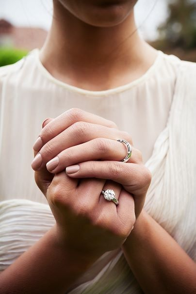 Damiani Jewels Wedding Band On The Left Hand And Engagement Ring On The Right Hand Necklace Online Rings Luxury Rings