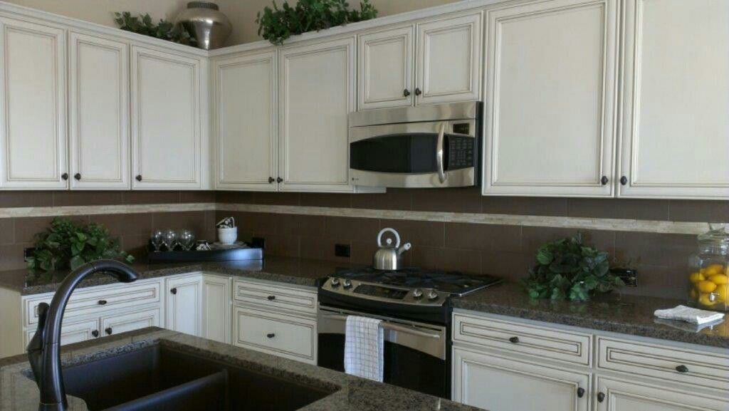 Designer Home In Robson Ranch Arizona Cabinets Coconut With Brown
