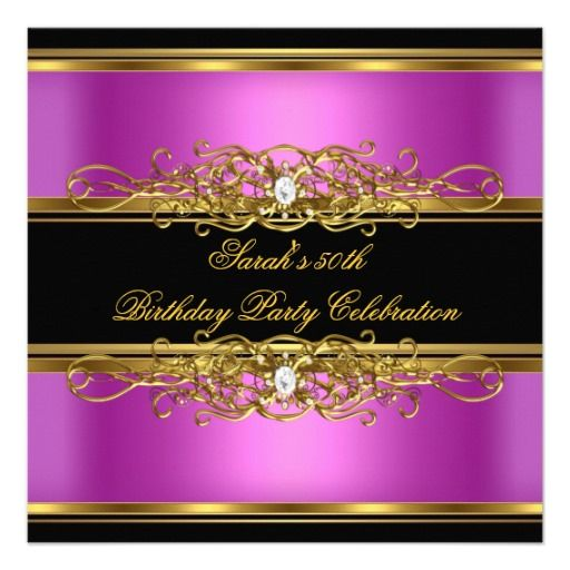 Elegant 50th Birthday Party Gold Pink Black Announcements
