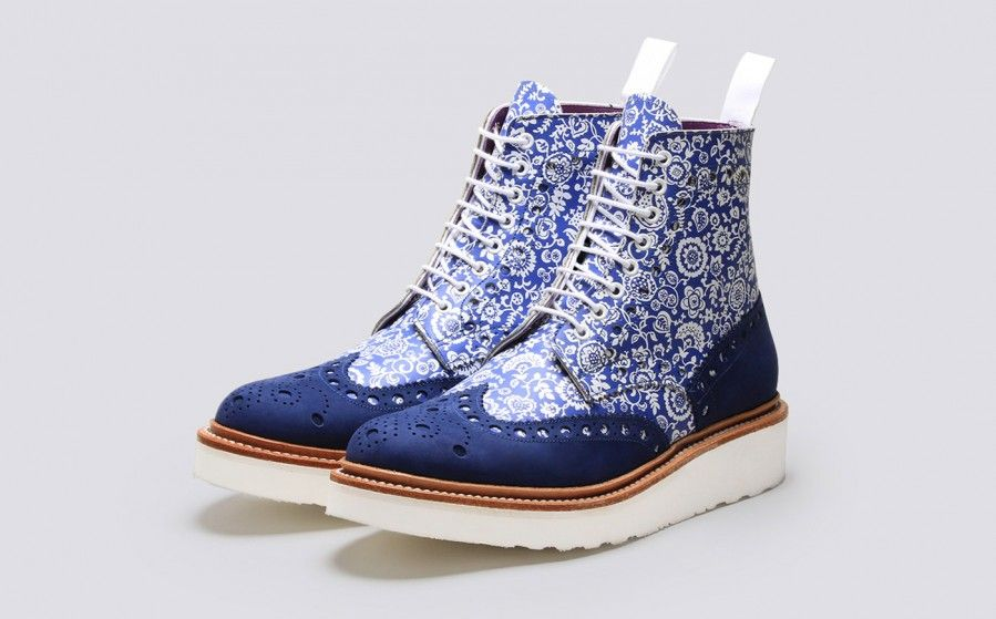 f71aac2e8b Grenson Shoes & Accessories | Fred Liberty Print Mens Brogue Boot in Blue  Calf Leather - 3 Quarter View. On Sale but still $$$