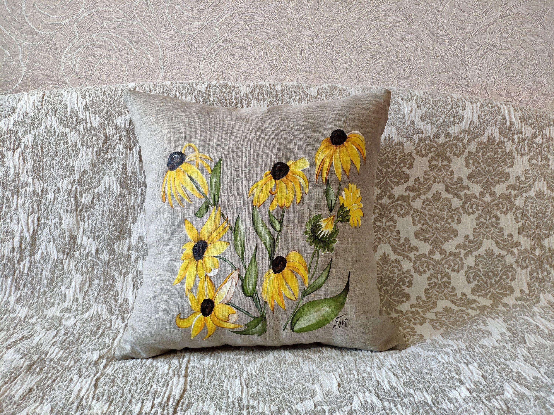Coneflower Pillow Cover Hand Painted Nature Indoor Outdoor Etsy In 2021 Hand Painted Pillows Pillows Original Pillows