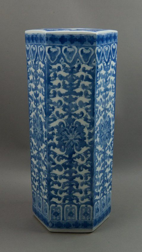 Qing Guangxu Mark And Period Chinese Blue And White Porcelain Umbrella Stand Of Hexagonal Form Richly Cover Wit Blue And White White Umbrella Umbrella Stand