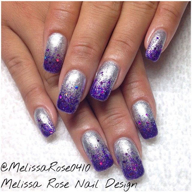 Purple Silver Gel Nails