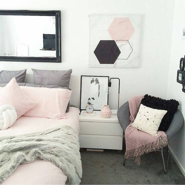 Pink black grey white minimalist bedroom and apartment decor – #apartment #bedro…