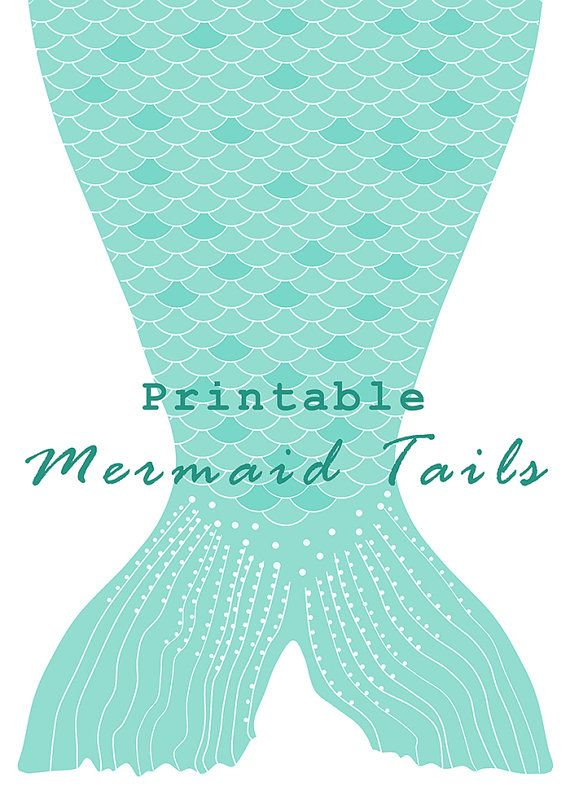 Instant download printable paper mermaid tails by elvesfairies party decor pinterest for Mermaid templates printable