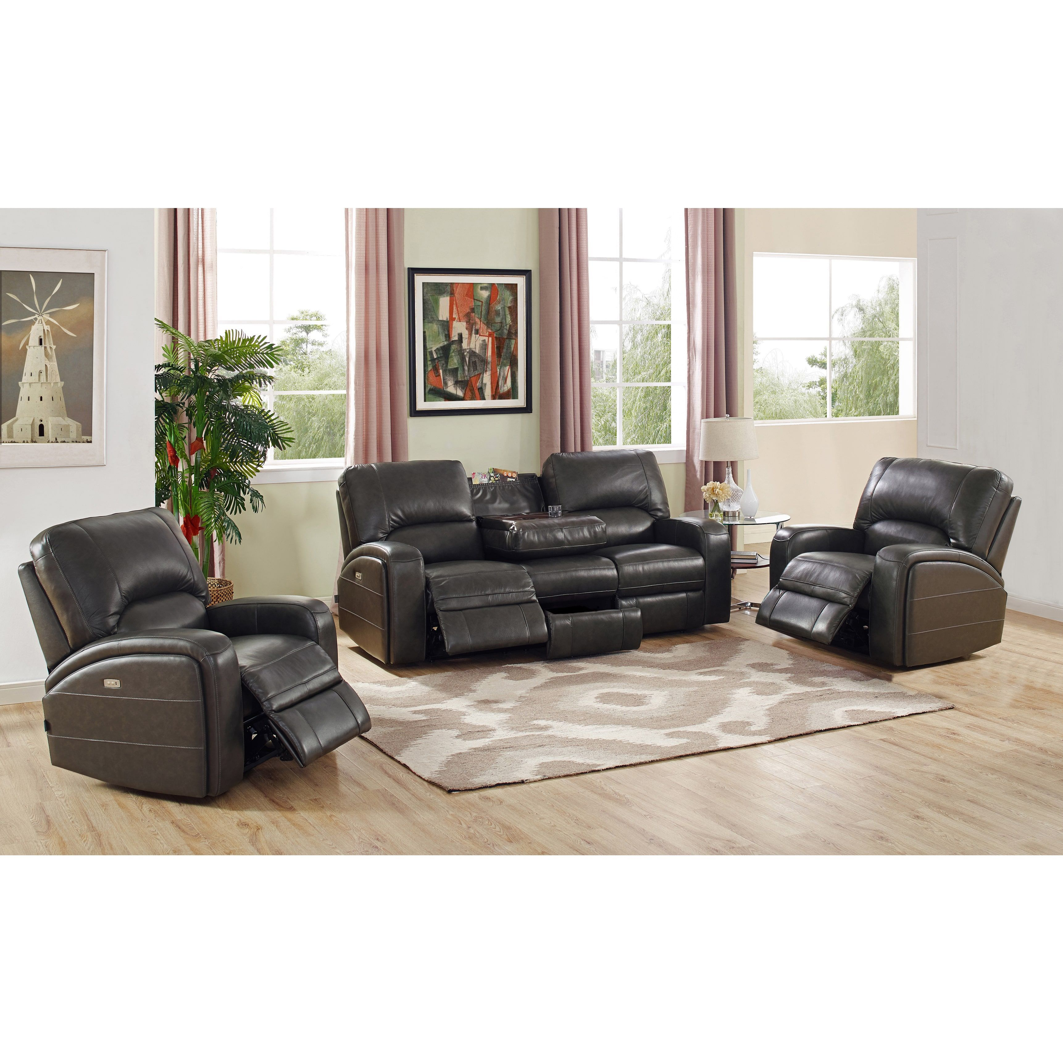 Hydeline by Amax Newcastle Top Grain Leather Power Reclining Sofa