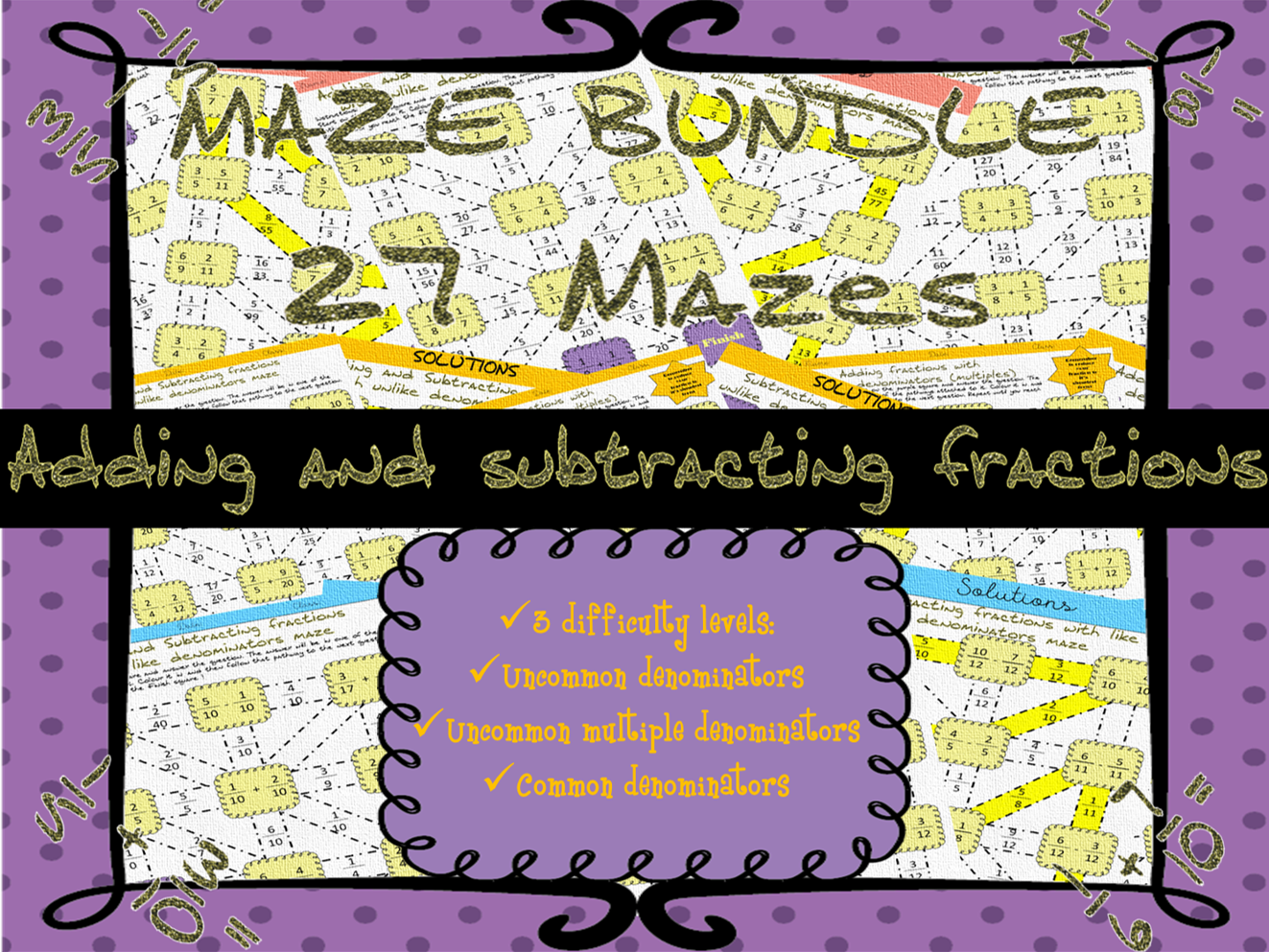 Adding And Subtracting Fractions Mazes