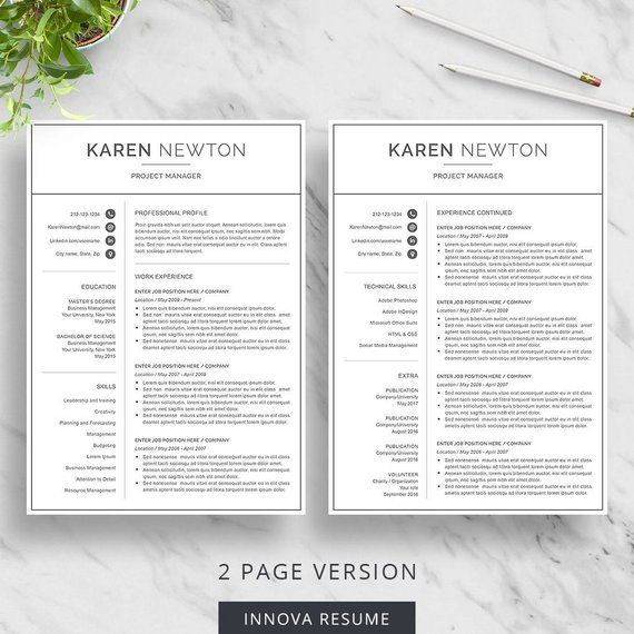 Modern Resume Template for Word Minimalist Resume Design 2 Page