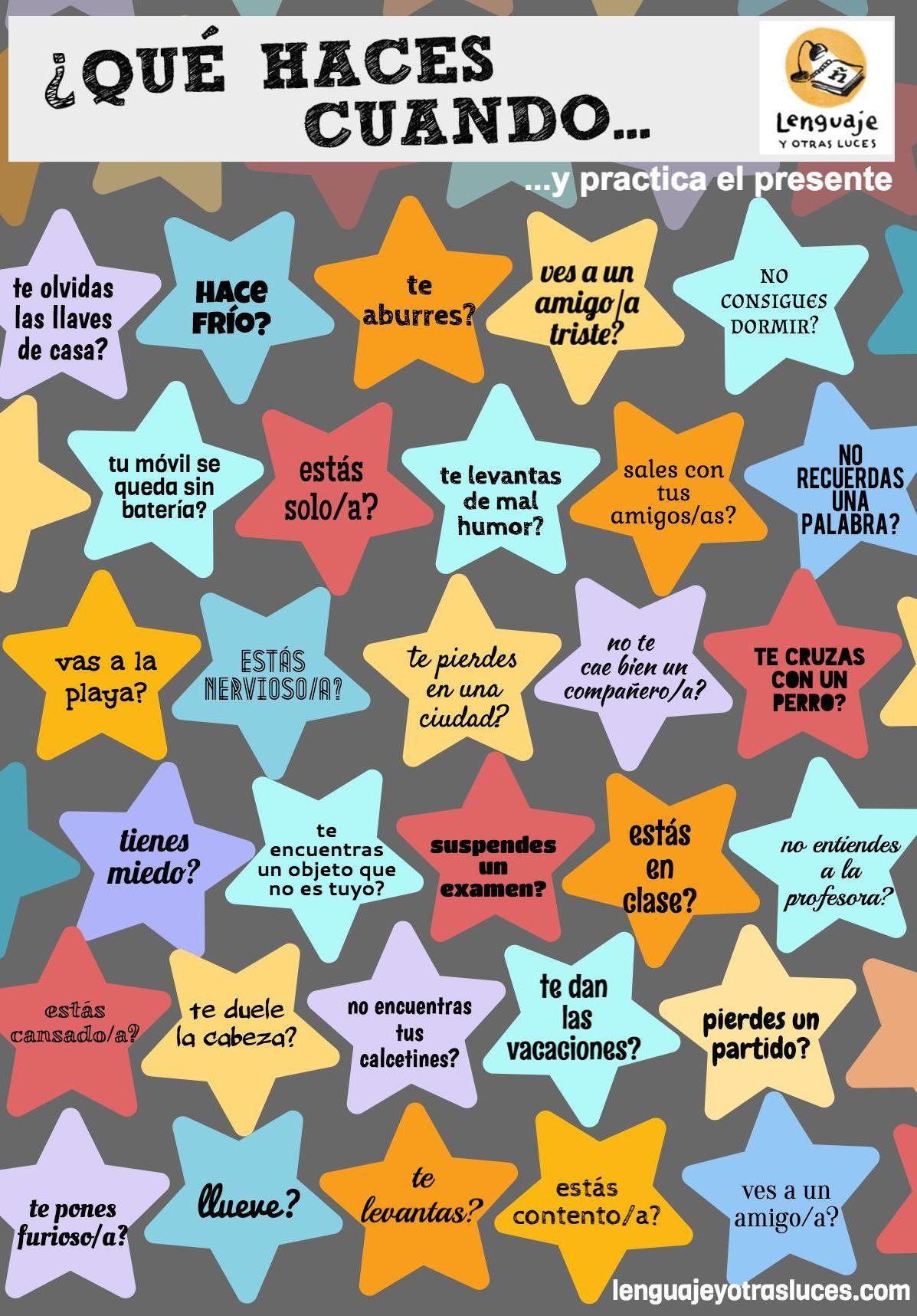 Actividad ELE presente   niños   Pinterest   Spanisch