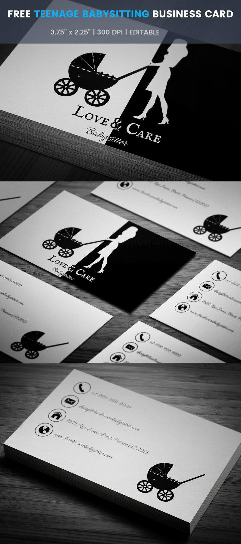 Daycare Babysitting Business Card Full Preview Free Business Card Templates Square Business Cards Modern Business Cards