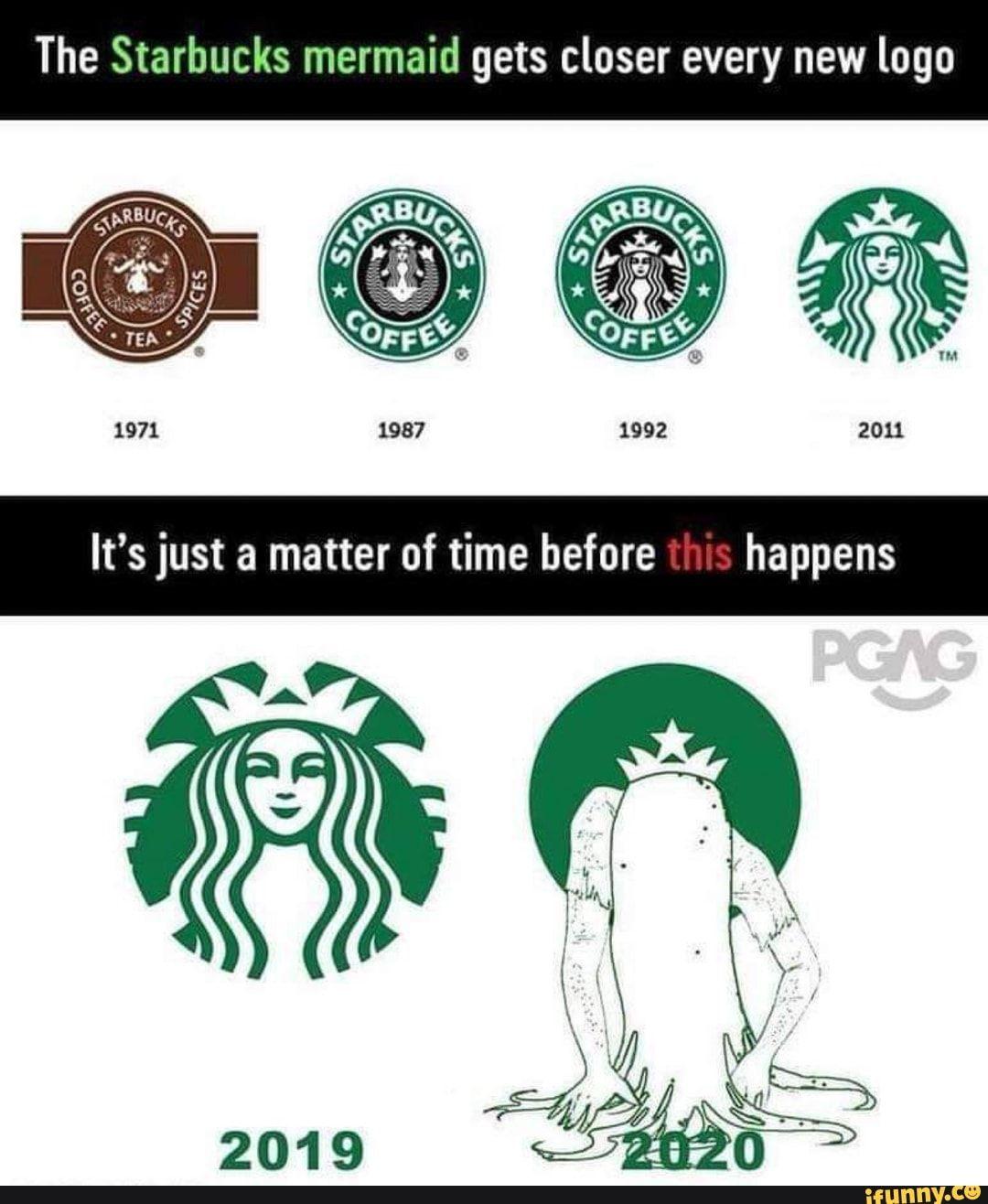 The Starbucks mermaid gets closer every new logo iFunny