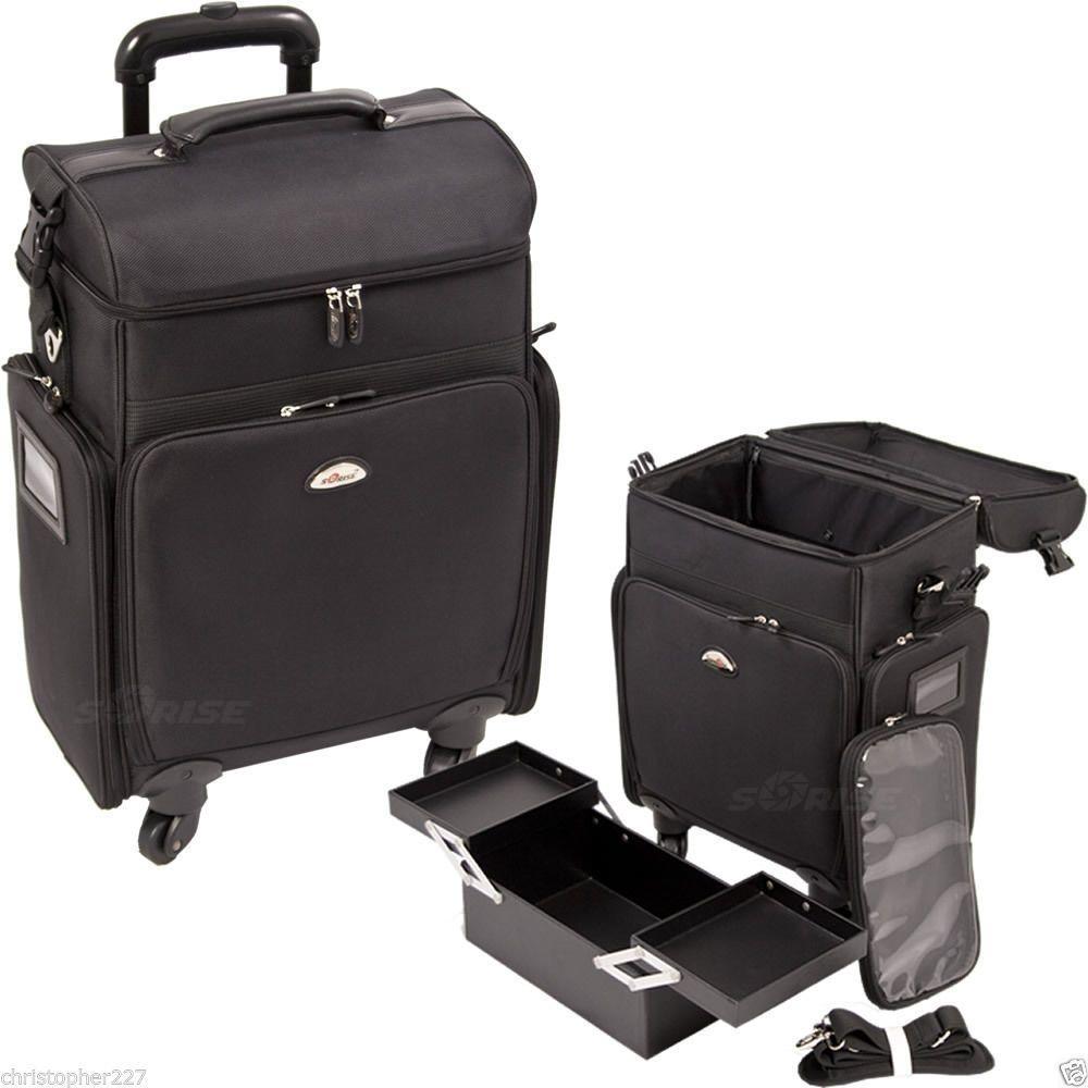 Salon Trolley Bag On Wheels Rolling Black Supply Makeup