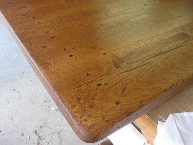 Distressed Wood Countertop Complete With Square Nails Wood