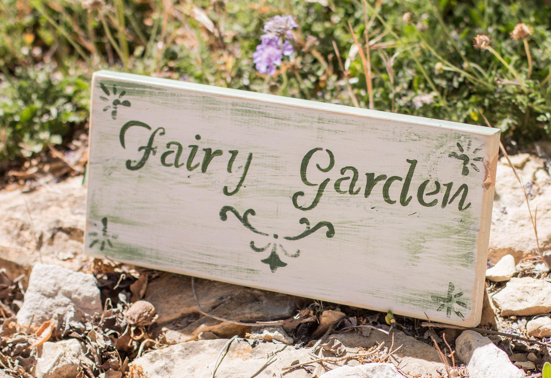 Fairy Garden Sign Fairy Garden Decor Garden Rustic Home