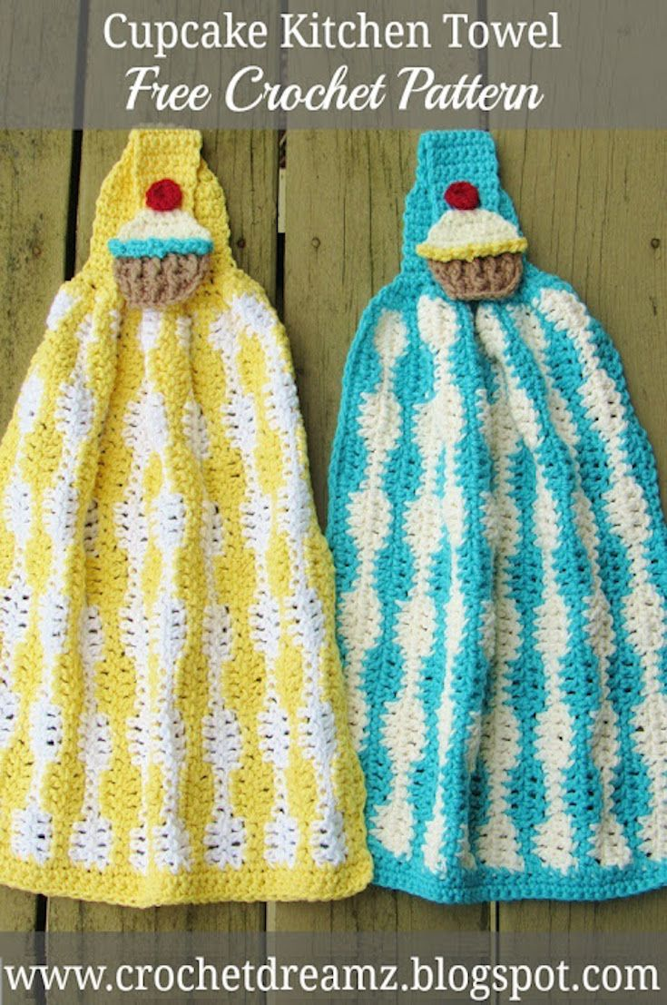 Cup Cake Kitchen Towel Crochet Pattern, Free Crochet Pattern | Cup ...