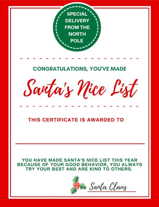 Letter to santa certificate for making the nice list nice list certificate for making santas nice list santa says congratulations for your kind behavior and good choices this year youve made santas nice list spiritdancerdesigns Choice Image