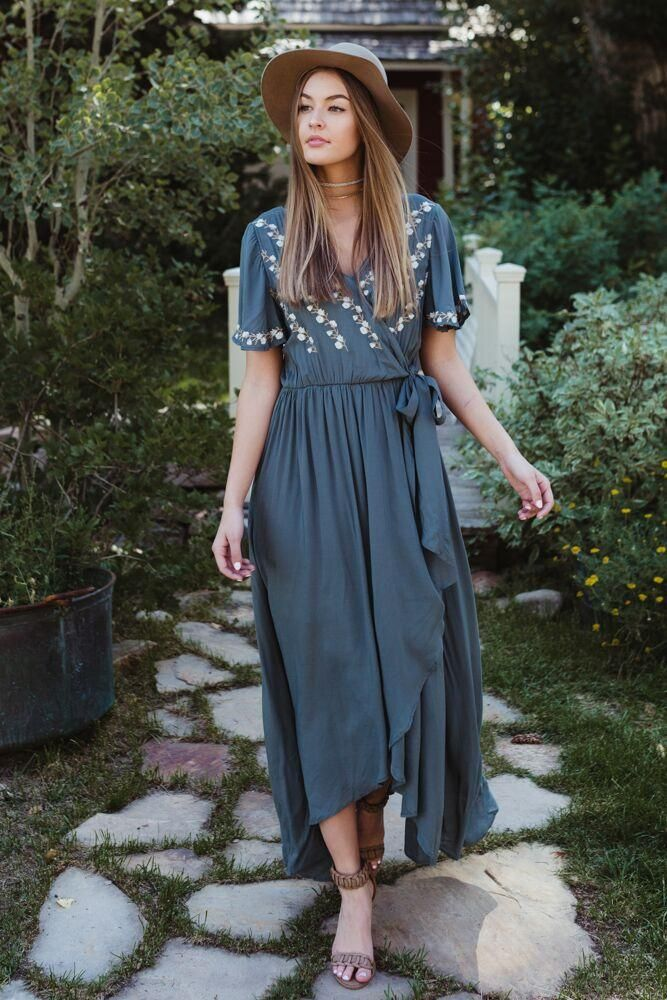 97f559d0e8a Deja Embroidered Wrap Dress in Jade | bohme // dresses in 2019 ...