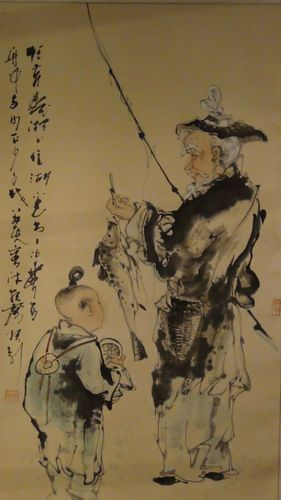 Antique Mid 20c Chinese Watercolor Scroll Painting Fisherman