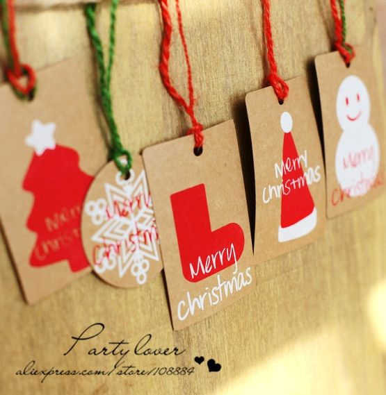 Free shipping 5 styles to choose christmas kraft paper hang tags for gift packaging  5cm*7.5cm  d-5cm $14.80