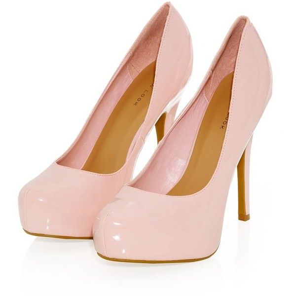 Pink Patent Platform Court Shoes ($16) ❤ liked on Polyvore featuring shoes, pumps, heels, pink, sapatos, high heel stilettos, stiletto pumps, pink stilettos, patent platform pumps and platform shoes