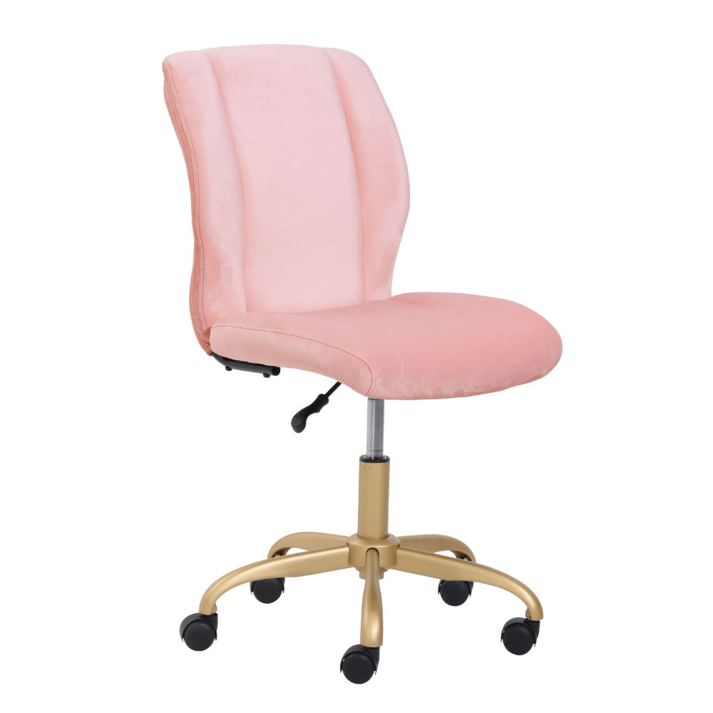 Mainstays Plush Velvet Office Chair Pearl Blush Walmart Com Velvet Office Chair Pink Desk Chair Pink Office Chair