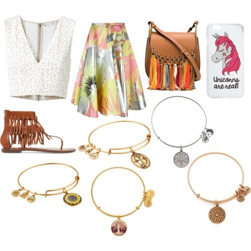 Bracelets rock✌✌✊ by emmahhayes on Polyvore featuring polyvore fashion style Alice + Olivia Rochas Sam Edelman Chloé Alex and Ani Miss Selfridge clothing