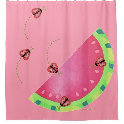 Ladybug S Watermelon Pink Shower Curtain Zazzle Com Pink Shower Curtains Pink Pink Gifts