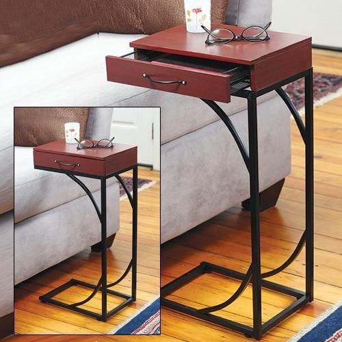 Pull Up Side Sofa Table With Drawer