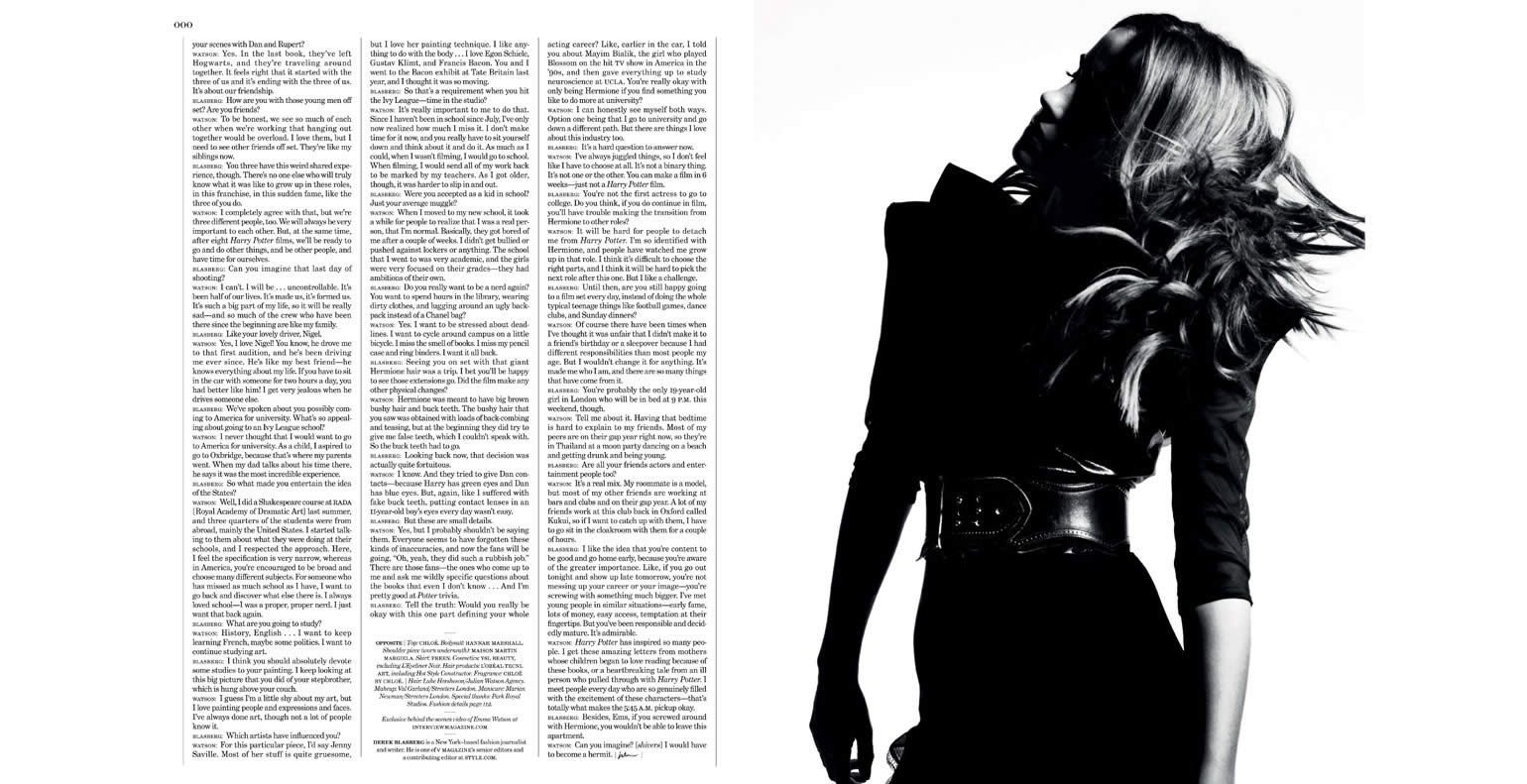 Interview magazine - inside spread (Emma Watson issue) #design #layout