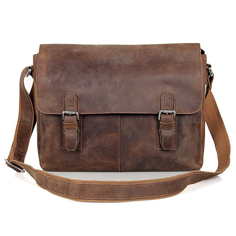 2c5a669cbcf5 15 Inch Retro Crazy Horse Leather Laptop Messenger Bag Office Briefcase  College Bag