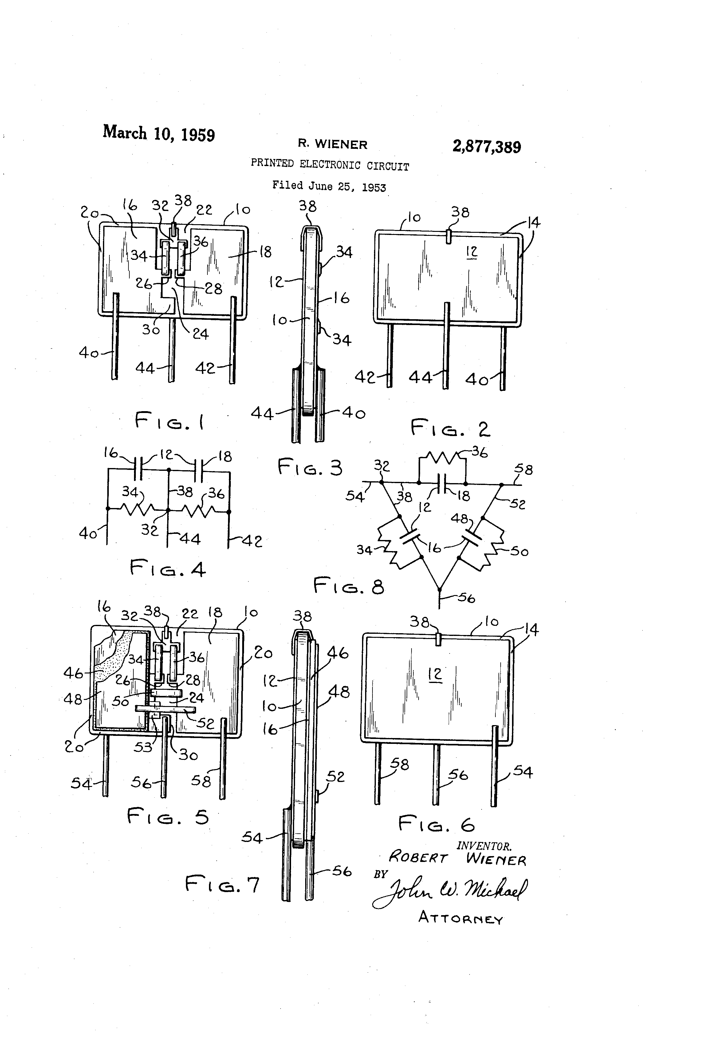 Patent Us2877389 Printed Electronic Circuit Mar 10 1959 Sci And Learn About Digital Analog Circuits