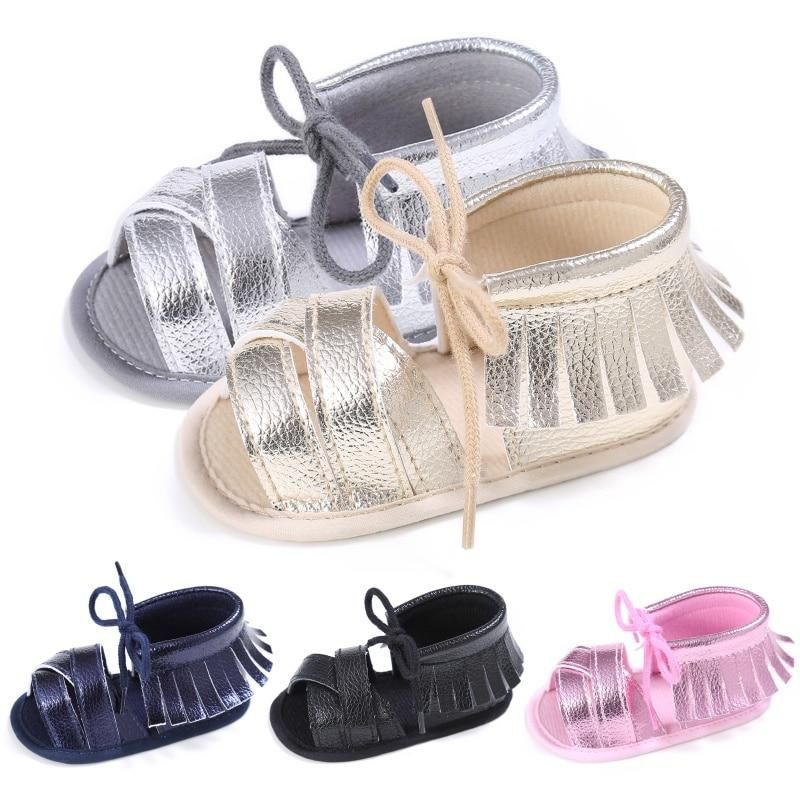 Baby Toddler Girls Shoes BLACK SLIDES SANDALS Knotted Bow ANKLE STRAP Size S M L