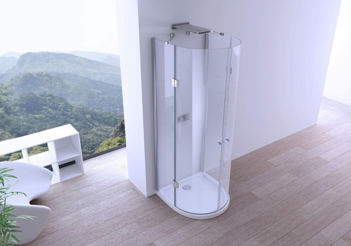 Box doccia semicircolare 90x90 doppia apertura centrale a