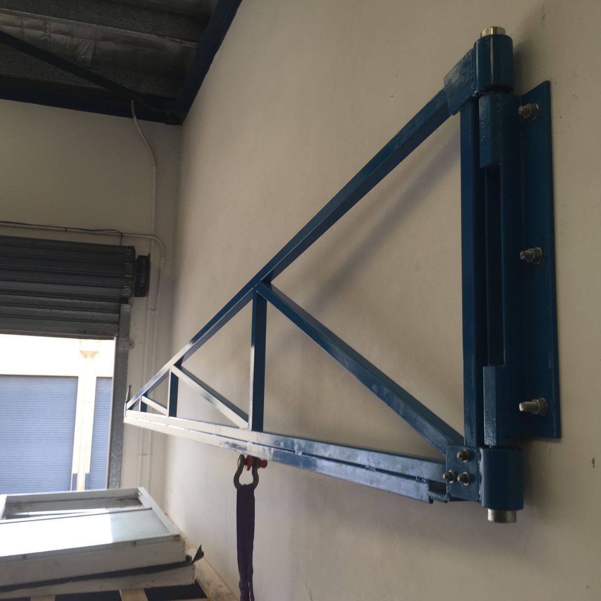 Jib Folded Away Against Wall Workshop Crane Jib Tags