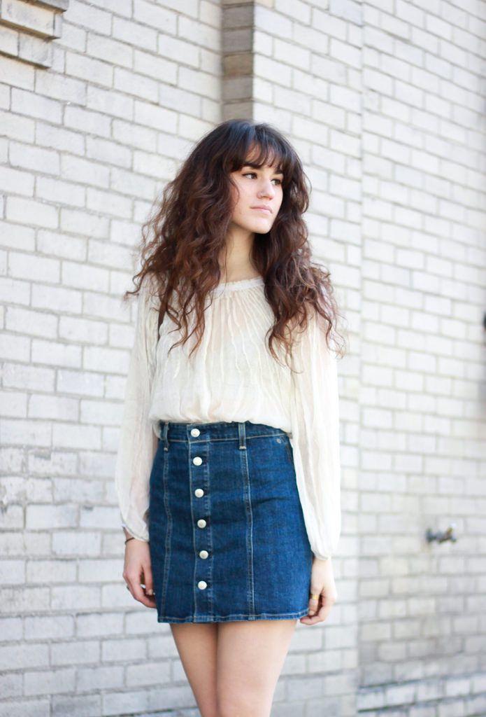 a line denim skirt, spring, summer, white top, jumper, style, fashion, long hair, fringe Más