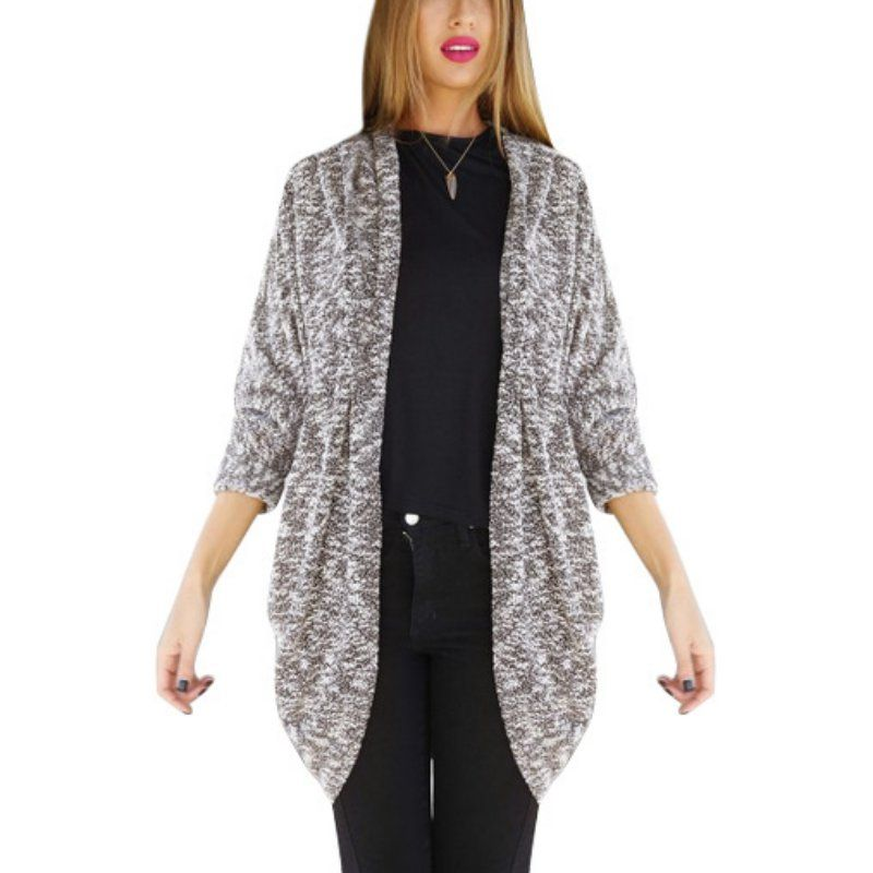 Brand New Cardigan Sweater Women Gray Crochet Knitted Long-sleeve ...