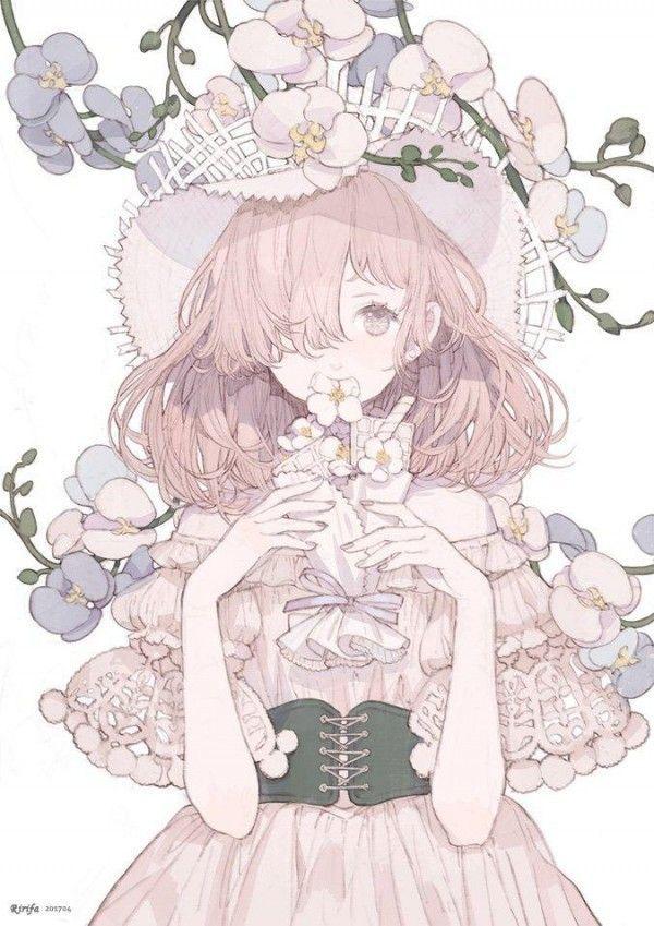 Fille chapeau corset fleur dessin ririfaust