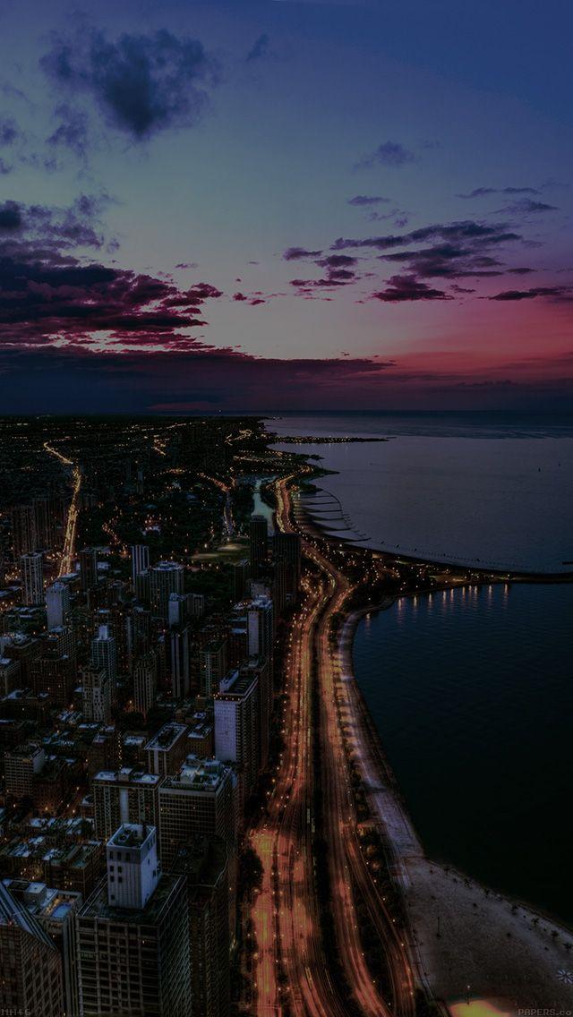 Mh46 Chicago City Night Sky View Scape Dark Ocean Beach Landscape Wallpaper City Wallpaper Landscape Photos