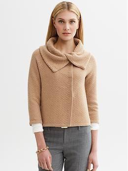 love the neckline. ++ Basket weave draped sweater