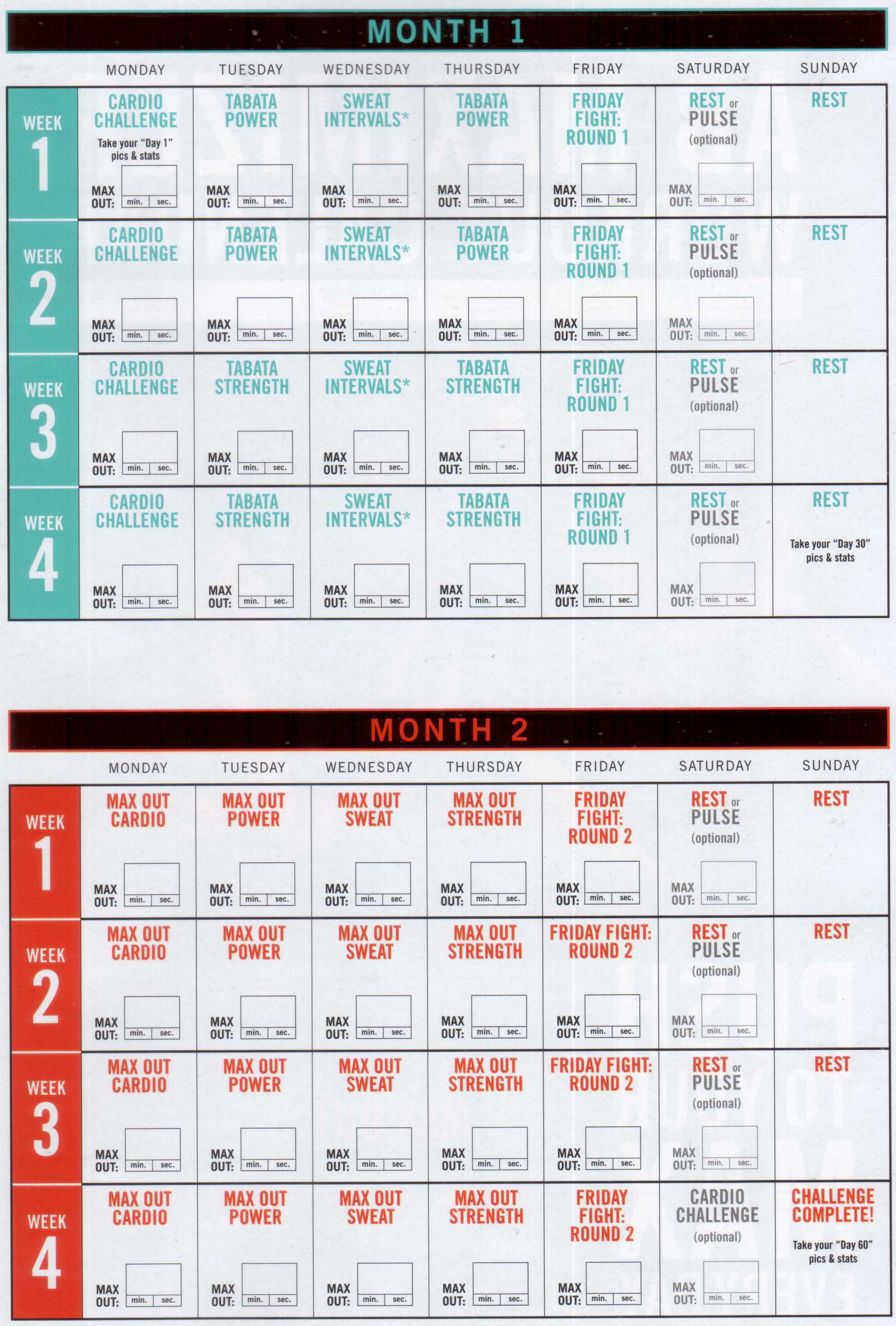 Insanity Max 30 Workout Calendar Printable Blog Dandk