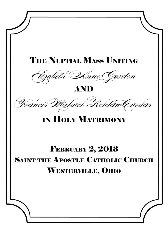 Ceremony program cover Ceremony programs, Catholic, Our