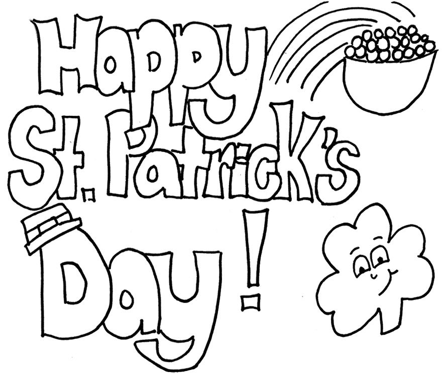 Happy St Patricks Day Coloring Sheets Printable Kids Coloring