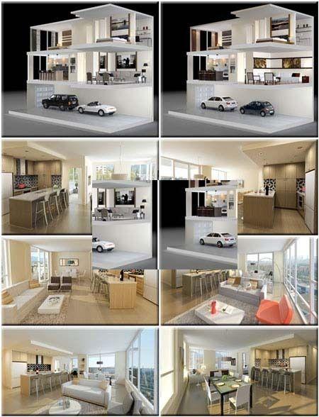 3dsmax 3d model scenes modern for Full house design