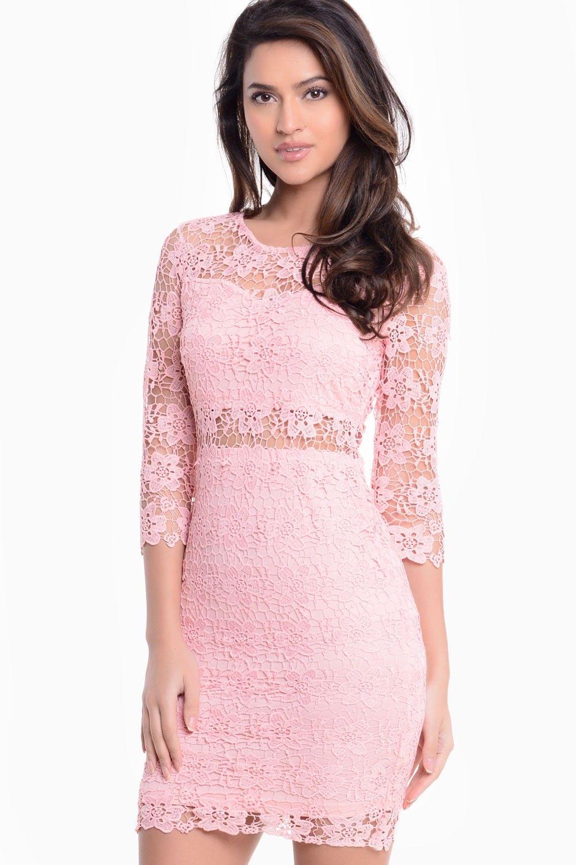 Ruth Crochet Overlay Bodycon Dress in Pink | Rosa, Croché y Vestidos