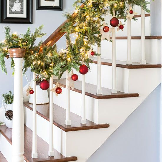 Simple Garland And Ornaments Make For A Welcoming DIY Christmas Entry.