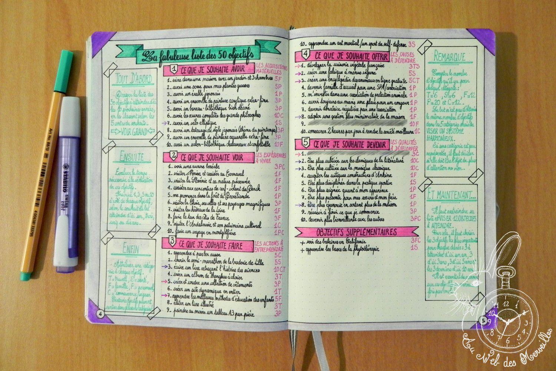 La fabuleuse liste des 50 objectifs dans mon bullet journal projet bullet - Journal marianne adresse ...