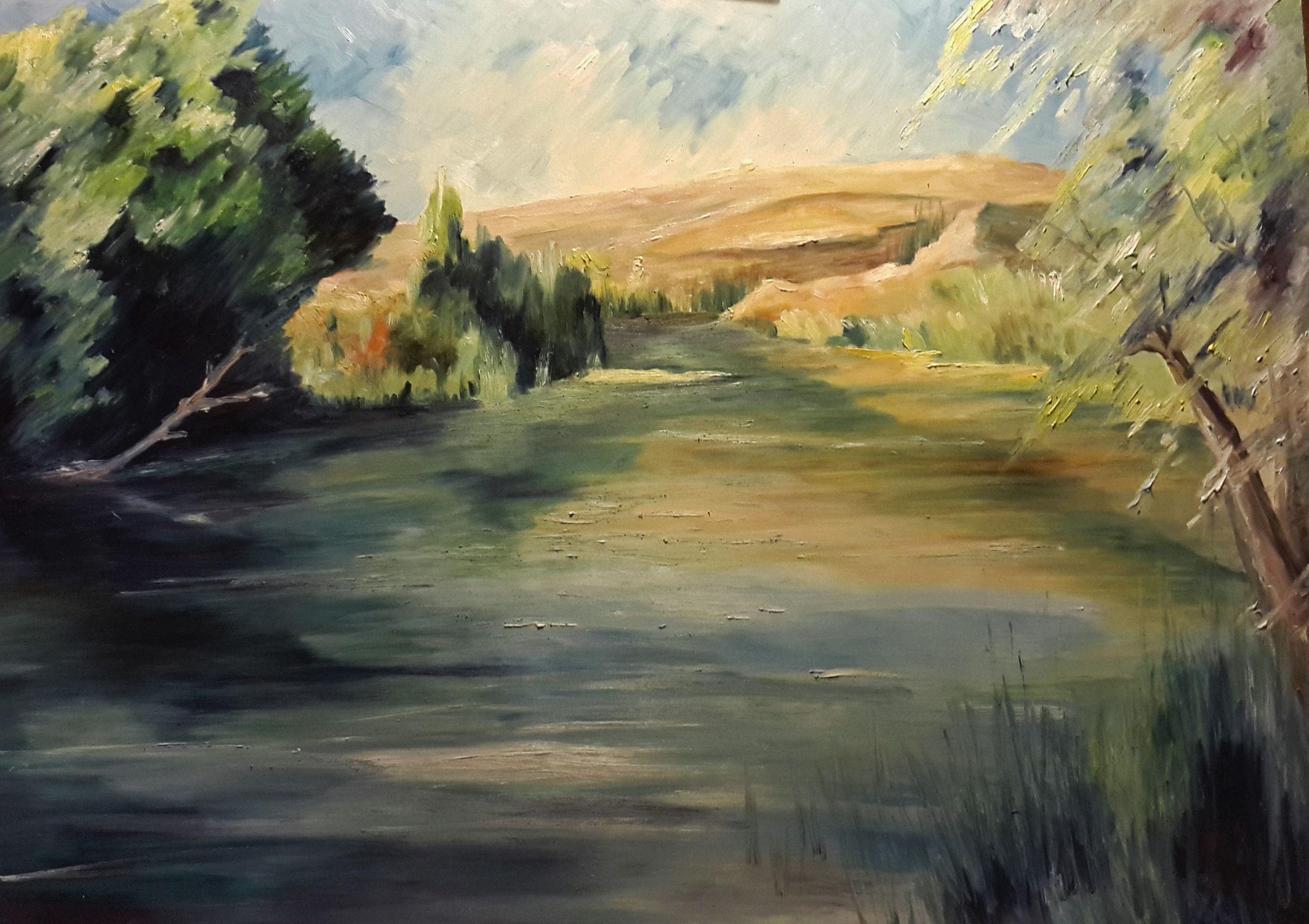 Título: Paisaje del Lago - Óleo (90 X 60cm) - San Luis Argentina - Autora: Alejandra Etcheverry