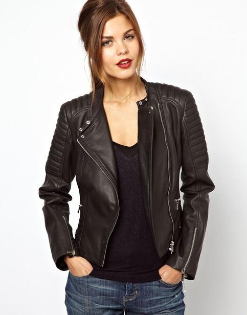 Women's Black Quilted Motorbike Leather Jacket Brando Handmade Fastening Zipper Tab Collar