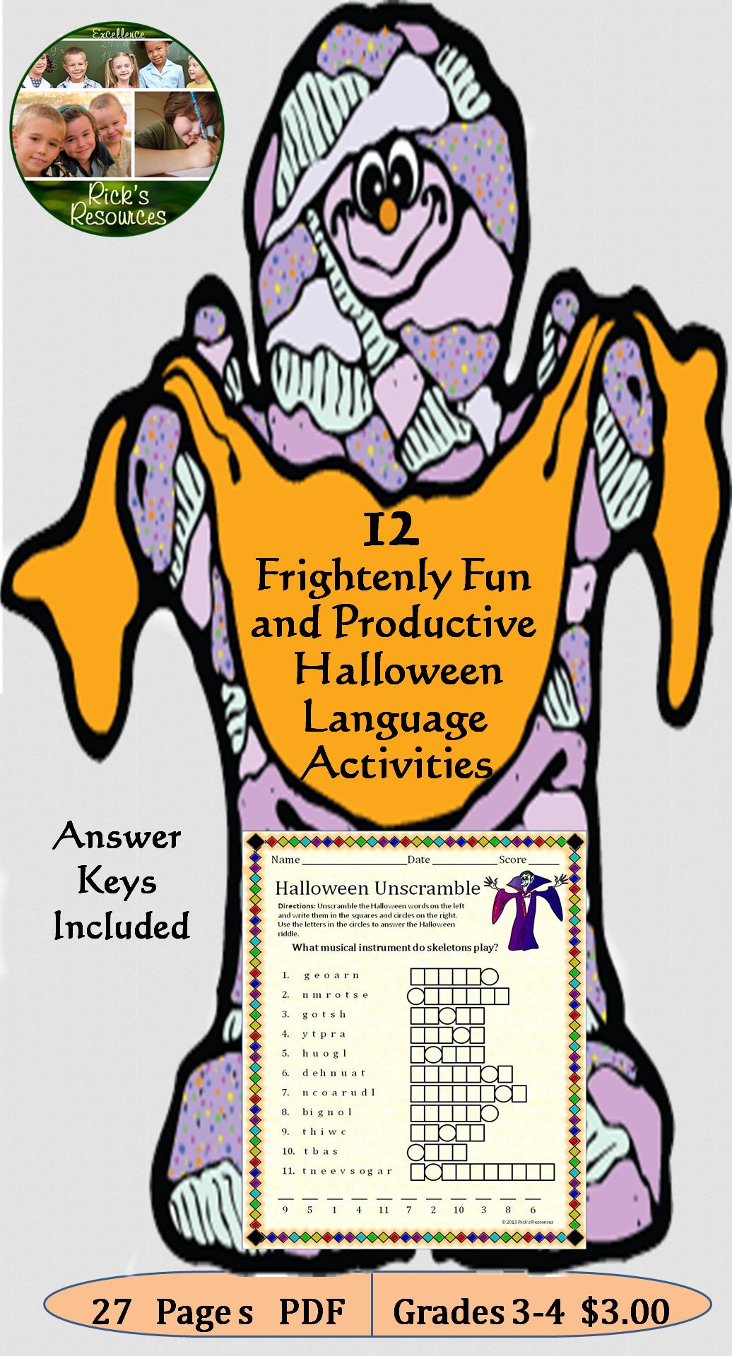 Halloween Language Activities With Images