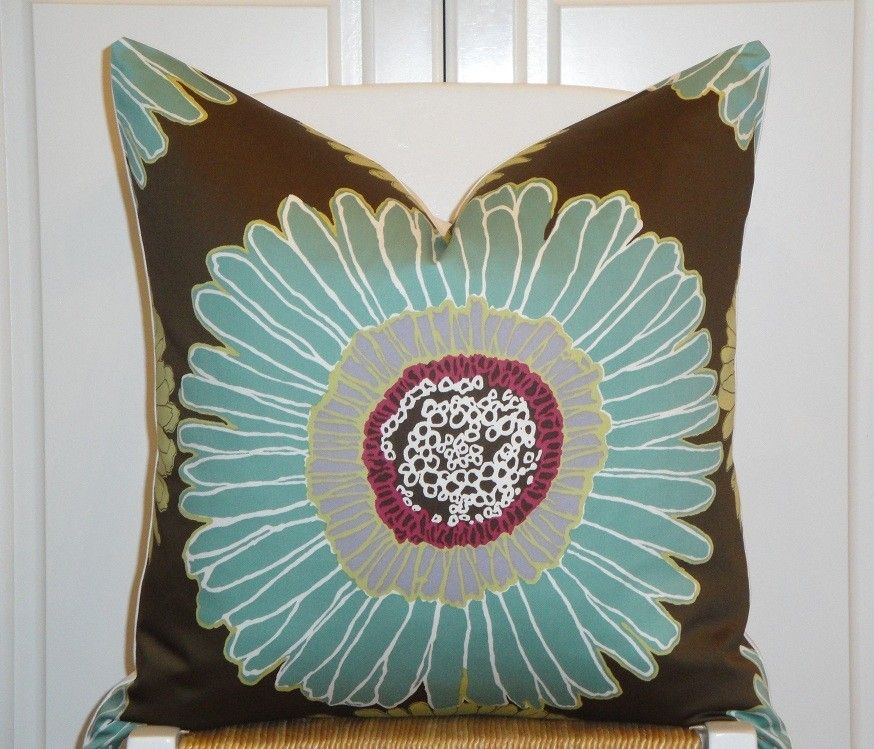 Decorative Pillow Cover - 20 x 20 - Duralee - Throw Pillow - Accent Pillow - Teal - Chocolate Brown - Magenta - Light Purple. $45.00, via Etsy.